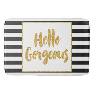 Hello Gorgeous Black U0026 White Gold Glitter Stripes Bathroom Mat