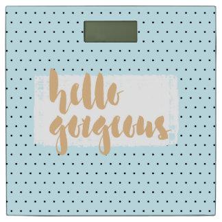 HELLO GORGEOUS Blue Polka Dot Print Bathroom Scale