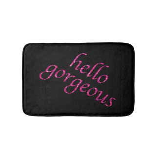 Hello Gorgeous | Chic Pink Black Girly Quotes Bathroom Mat