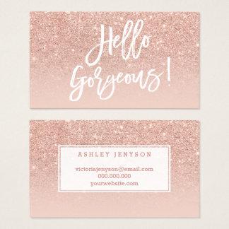 hello gorgeous elegant typography blush rose gold business card