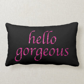 Hello Gorgeous Girly Pink Glitter Typography Quote Throw Pillow