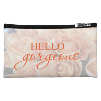 """""""Hello Gorgeous!"""" make up Cosmetics Bags Apricot"""
