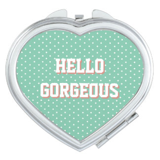HELLO GORGEOUS Mint Green Polka Dots Compact Mirror
