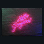 "Hello Gorgeous - Neon SIgn Placemat<br><div class=""desc"">A fantastic,  eye catching,  hot pink neon sign with a special message just for you. Hello Gorgeous.</div>"