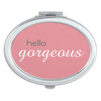 """Hello Gorgeous"" Oval Compact Mirror"