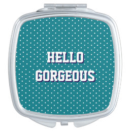 HELLO GORGEOUS Petrol Polka Dots Vanity Mirror