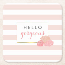 Hello Gorgeous Pink Stripe & Blush Peony Coasters