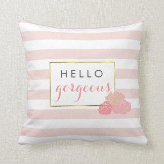 Hello Gorgeous Pink Stripe & Blush Peony Floral Throw Pillow