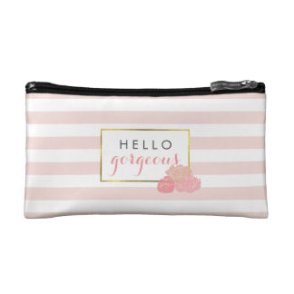 Hello Gorgeous | Pink Stripe & Blush Peony Makeup Bag