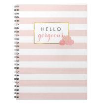 Hello Gorgeous Pink Stripe & Blush Peony Notebook