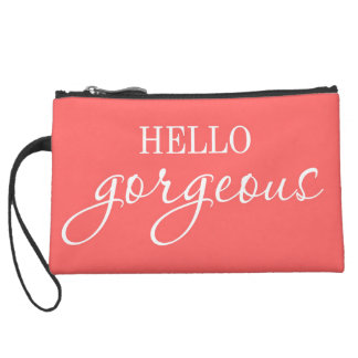 """""""Hello Gorgeous!"""" sueded mini clutch"""
