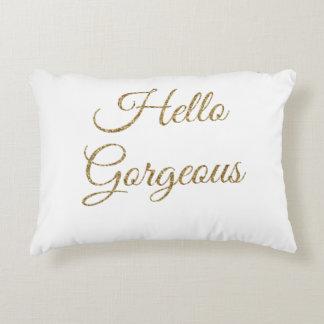 hello gorgeous text decorative pillow