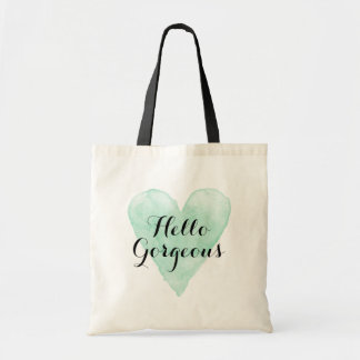 Hello gorgeous tote bag with mint watercolor heart
