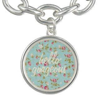 Hello gorgeous Vintage floral pattern shabby rose Charm Bracelet