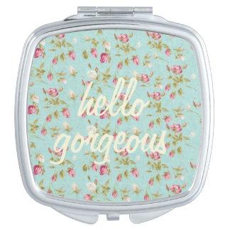 Hello gorgeous Vintage floral pattern shabby rose Vanity Mirror