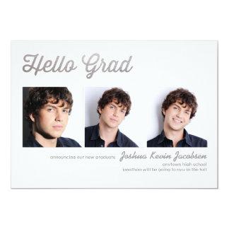 """Hello Grad Silver Foil 3 Photo Graduation 5"""" X 7"""" Invitation Card"""