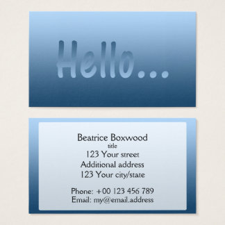 hello gradient one color blue with custom text business card