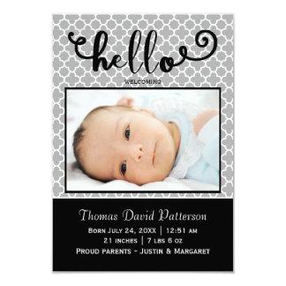 hello gray photo - 3x5 Birth Announcement