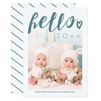 Hello Green Script Custom Photo Happy New Year Card