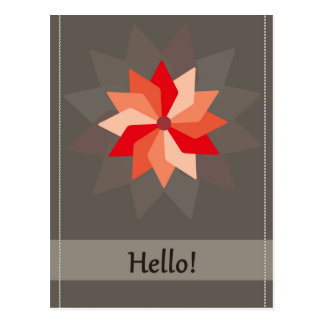 Hello greeting card with a red pink large flower