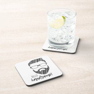 Hello Handsome Hipster Plastic & Cork Coaster Set