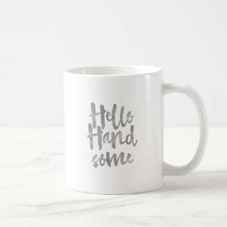 Hello Handsome Typography Silver Effect Mug