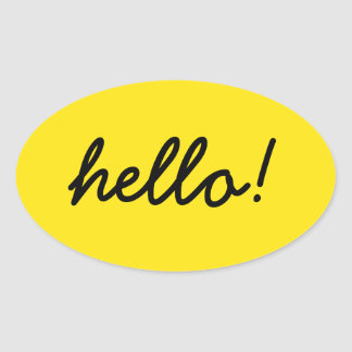 hello happy design oval sticker