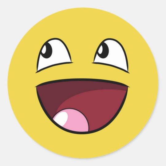 hello happy face classic round sticker