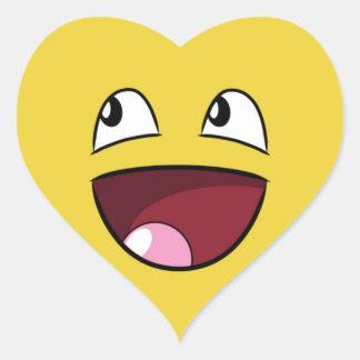 hello happy face heart sticker