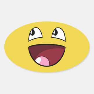 hello happy face oval sticker
