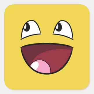 hello happy face square sticker
