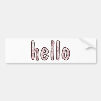 Hello Happy Pink and Mauve Marbled Background Bumper Sticker