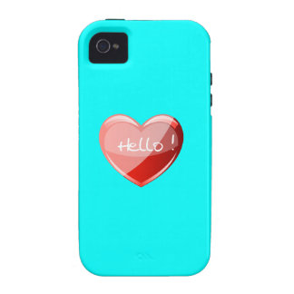 Hello! Heart On Aquamarine Blue Background Pattern Case For The iPhone 4