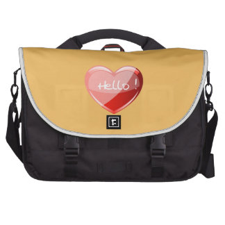 Hello! Heart On Beeswax Orange Background Pattern Bags For Laptop