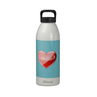 Hello! Heart On Blue Curacao Background Pattern Reusable Water Bottle