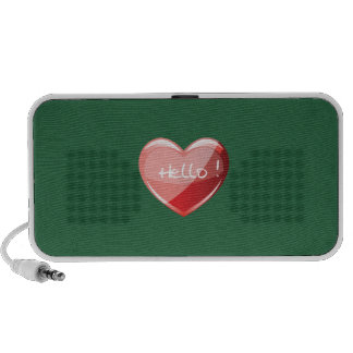 Hello Heart On Pool Table Green Background Pattern iPod Speakers