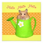 """Hello hello hamster 5.25"""" square invitation card"""