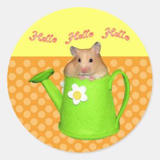 Hello hello hamster classic round sticker