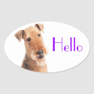 Hello / Hi  Airedale Puppy Dog  Sticker / Label