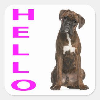 Hello / Hi  Boxer Puppy Dog PurpleGreeting Sticker