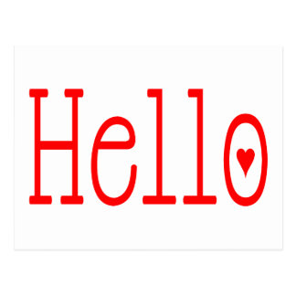 Hello / Hi Red Heart and White Love Postcard