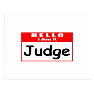Hello, I Am A Judge ... Nametag Postcard