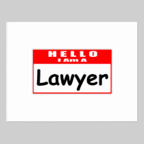 Hello, I Am A Lawyer ... Nametag Post Card