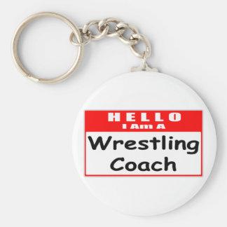 Hello I Am A Wrestling Coach Nametag Key Chain