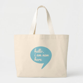hello I am new here blue speech bubble Canvas Bags