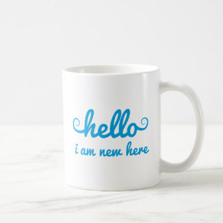 hello, I am new here, text design for baby shower, Coffee Mug