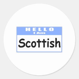 Hello, I Am Scottish ... Nametag Classic Round Sticker