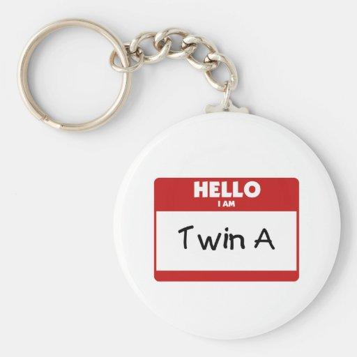 Hello I Am Twin A Keychains