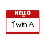 Hello I Am Twin A Postcard