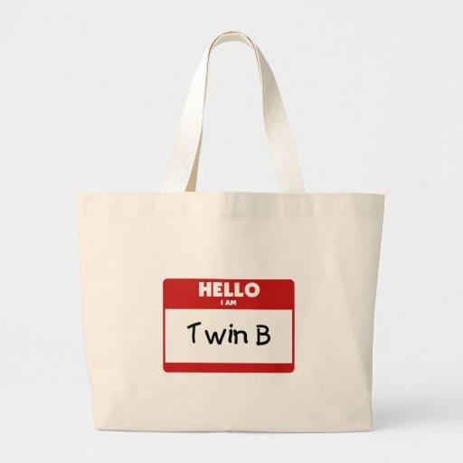 Hello I Am Twin B Tote Bags